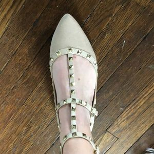 Wild Diva Shoes - Studded Gold/ Tan Pointed Toe Ballet Flats